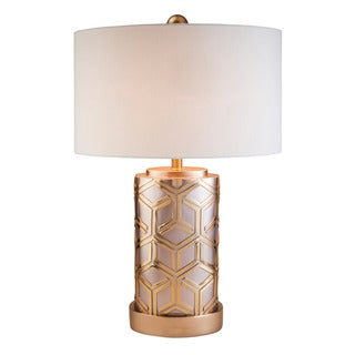 Rose Gold Bamboo Weave Polyresin Table Lamp