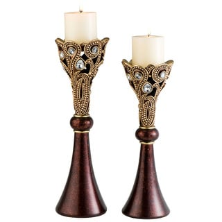 Moselle Polyresin Candleholders (Set of 2)