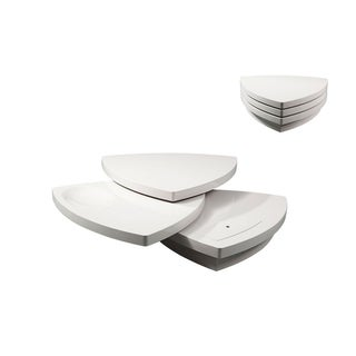 Modrest Perlite Modern White Tiered Coffee Table