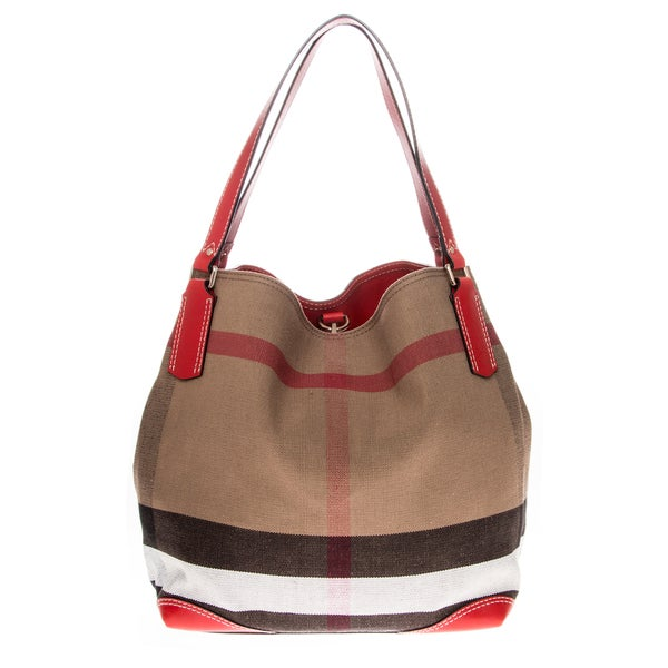 Burberry Medium Canvas Check Tote Bag