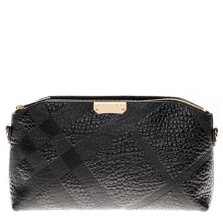Burberry Small Embossed Check Grain Leather Clutch Bag
