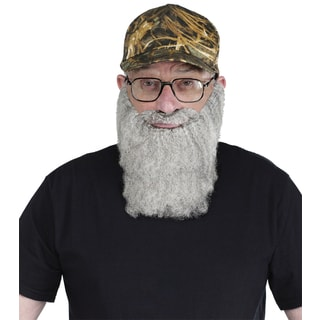 Camo Polyester Baseball Cap with Grey Beard Costume