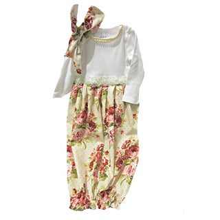 Layette Gown Baby Girl Infant Victorian Roses Comming Home Outfit