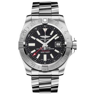Men's Breitling Avenger II GMT Black Dial Stainless Steel Watch