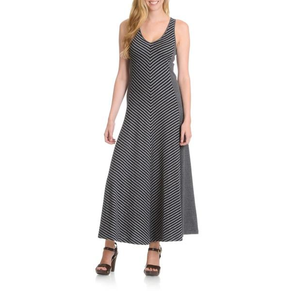 Joan Vass Women's Mixed Stripe Maxi Dress