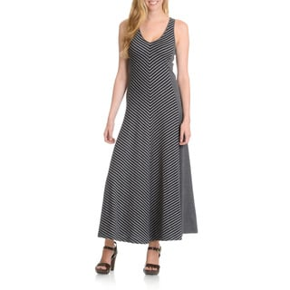 Joan Vass Women's Mixed Stripe Maxi Dress