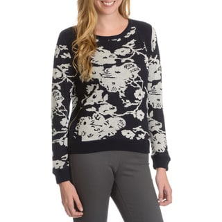 Joan Vass Women's Side Zip Abstract Floral Print Sweater