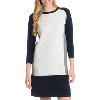 Joan Vass Women's Color Block Sweater Dress