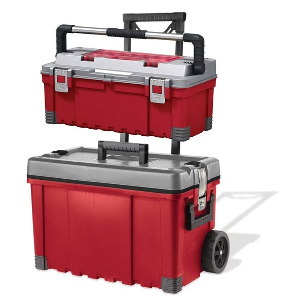 Tool Box and Wheeled Storage Chest Combo, Red