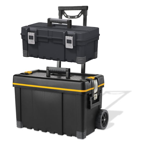Tool Box and Wheeled Storage Chest Combo, Black