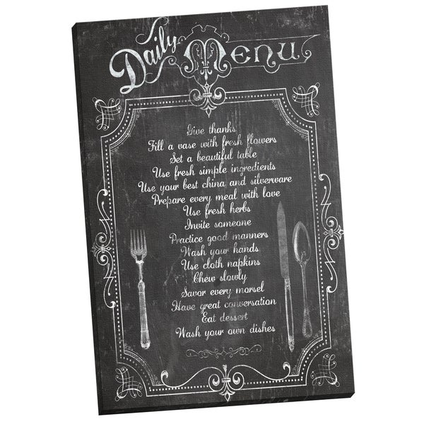 'Daily Chalkboard Menu' Corinne Haig 24-inch x 36-inch Wrapped Canvas Wall Art
