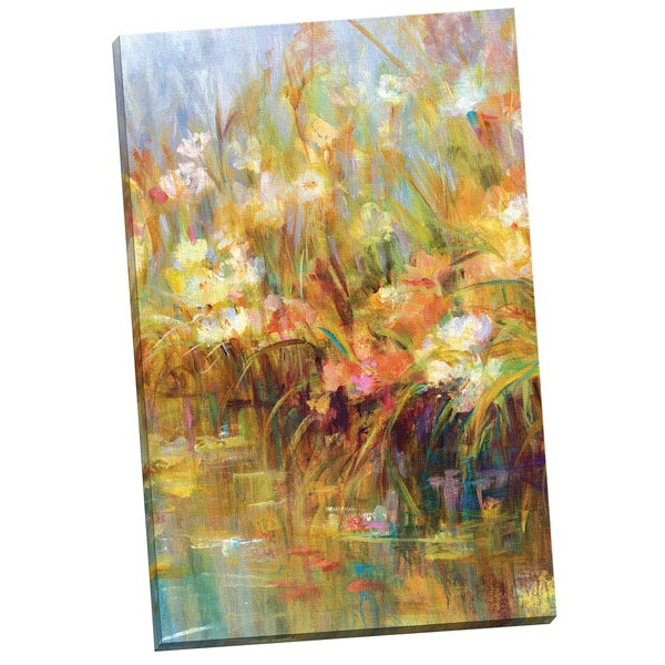 'Floral Reeds' Carson 24-inch x 36-inch Wrapped Canvas Wall Art