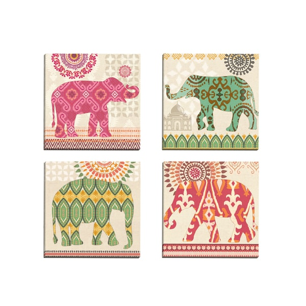 'Jaipur Elephant Green Ikat' Jennifer Brinley 12-inch x 12-inch Wrapped Canvas Wall Art