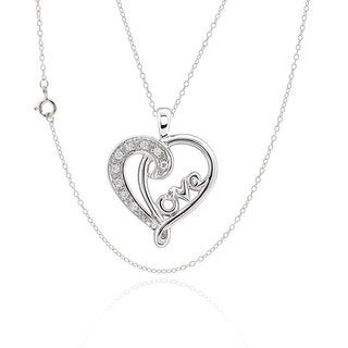 Sterling Silver Cubic Zirconia Love Theme Heart 17-inch Chain Necklace