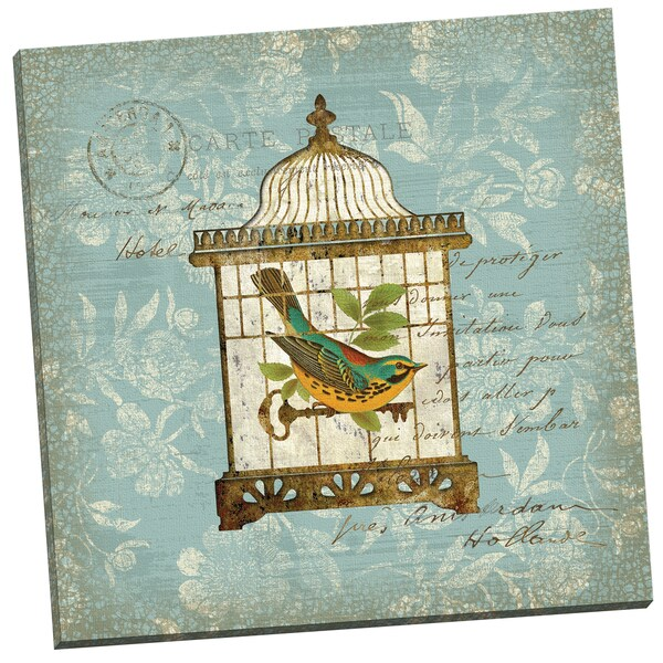 'Aviary 1' Suzanne Nicoll 24-inch x 24-inch Wrapped Canvas Wall Art