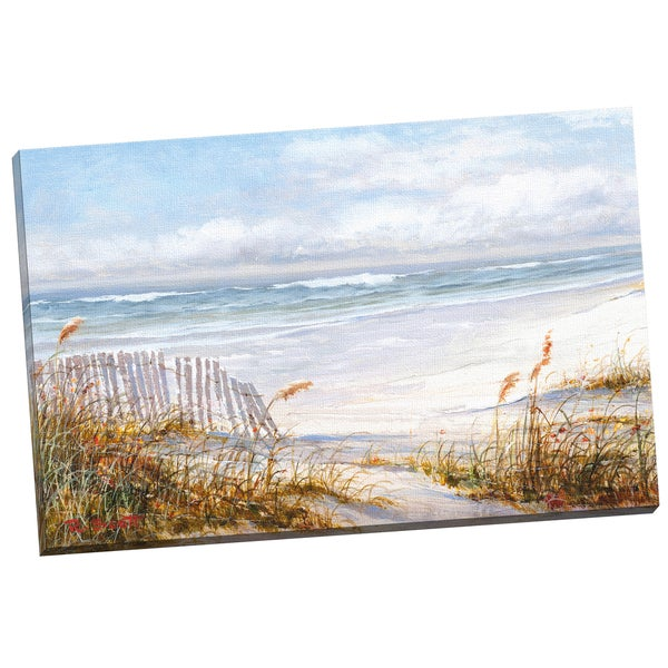 'Beach Fence' Robin Scott 24-inch x 36-inch Wrapped Canvas Wall Art