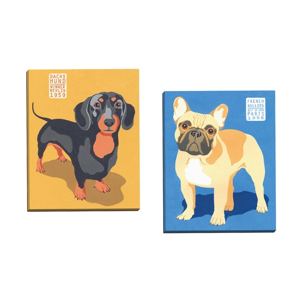 'Show Dogs French Bulldog' Jenny Wiscombe 16-inch x 20-inch Wrapped Canvas Wall Art