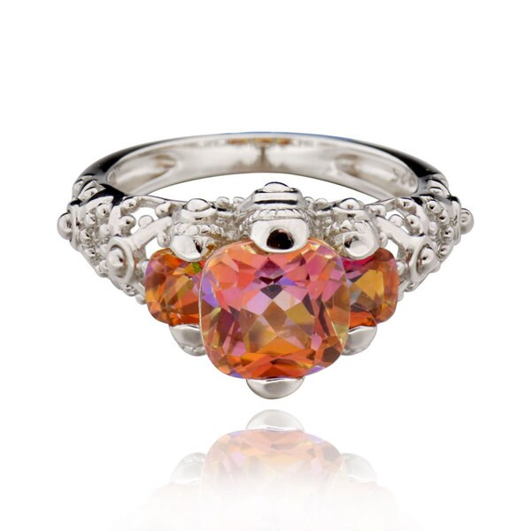 Sterling Silver Square Cushion Sunset Topaz Ring