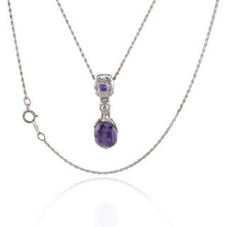 Sterling Silver Oval Charoite and Amethyst 18-inch Singapore Chain Necklace