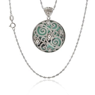 Sterling Silver Round Turquoise Singapore Chain Pendant Necklace (China)