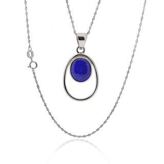 Sterling Silver Oval Lapis 18-inch Singapore Chain Necklace