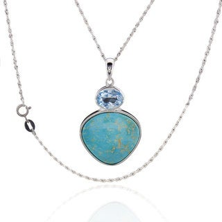 Sterling Silver Trillion Turquoise and Blue Topaz 18-inch Singapore Chain Necklace