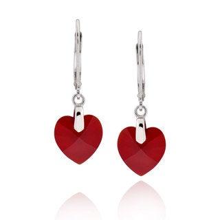 Sterling Silver Heart Genuine Austrian Crystal Elements Crystal Earrings