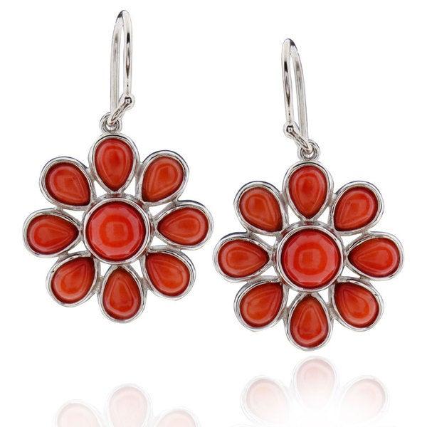 Sterling Silver Round Coral Earring