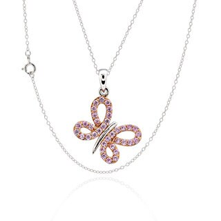Sterling Silver Cubic Zirconia Butterfly 17-inch Chain Necklace