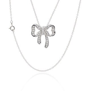Sterling Silver Cubic Zirconia Bowknot 17-inch Chain Necklace