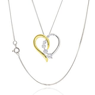 Sterling Silver Cubic Zirconia two-tone Open Heart 18-inch Chain Necklace