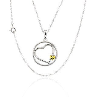 Sterling Silver two-tone Double Heart 17-inch Chain Necklace