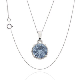 Sterling Silver Round Synthetic Aquamarine 18-inch Chain Necklace