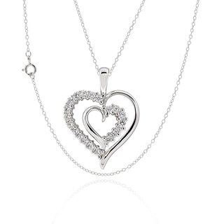 Sterling Silver Cubic Zirconia Double Heart Pendant Necklace (China)