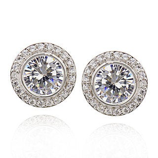 Sterling Silver Round Cubic Zirconia Stud Earrings (China)