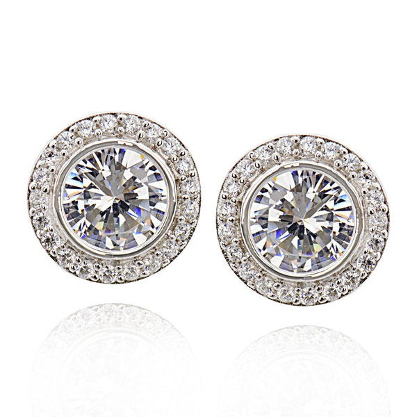 Sterling Silver Round Cubic Zirconia stud earrings