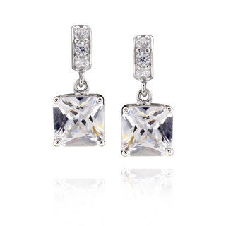 Sterling Silver Square Cubic Zirconia Earrings