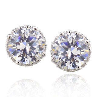 Sterling Silver 4 Ct Round Cubic Zirconia stud earrings