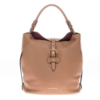 Burberry Medium Buckle Detail Leather Hobo Bag