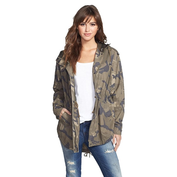 Laundry By Design Multi-Color Camouflage Hooded Basic Jacket