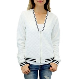 Relished Women's Contemporary Varsity Day Quilted Bomber Jacket