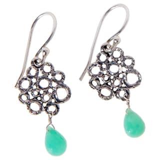 Handmade Sterling Silver Chrysoprase Earrings (India)