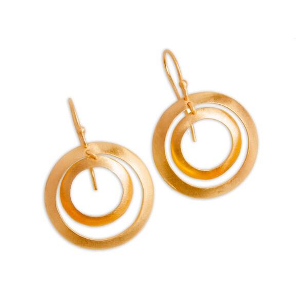 Handmade Goldplated Sterling Silver Double Hoop Earrings (India)
