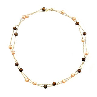 14k Yellow Gold Chocolate and Cream Freshwater Pearl Necklace (6-7mm)