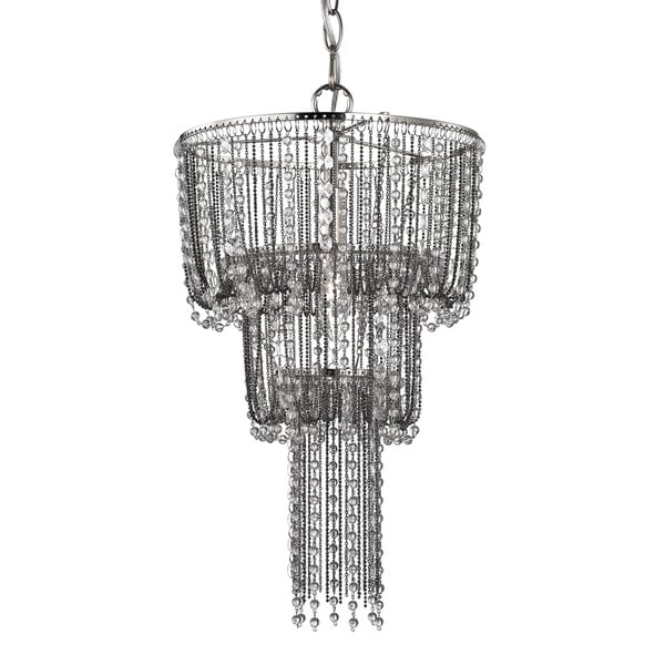 Sterling Beaded Mini Chandelier In Satin Nickel And Clear