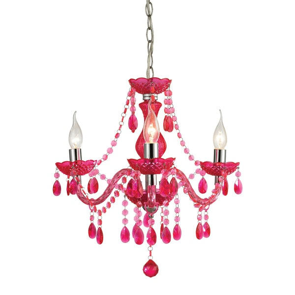Sterling Theatre 3-light Cerise Pink Mini Chandelier