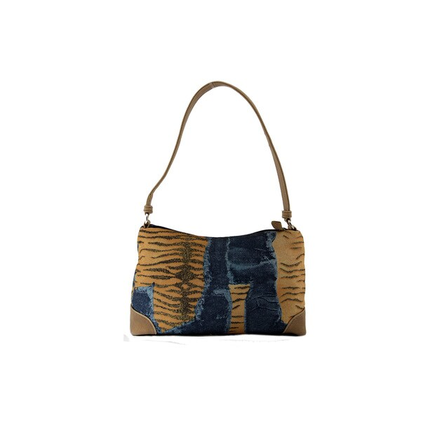 24/7 Comfort Apparel Animal and Denim Printed Shoulder Bag