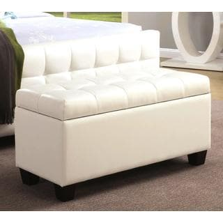 Majestic Tufted Cream/ White Upholstered Storage Ottoman/ Bench