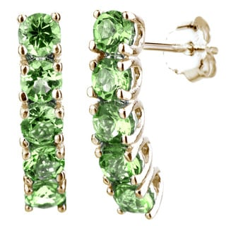 Yellow Goldplated Sterling Silver 5-stone Peridot Earrings