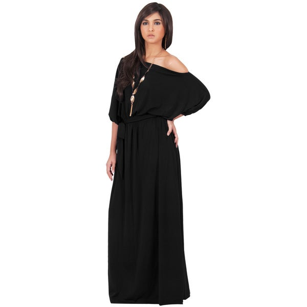 MACY Women's Black One-shoulder 3/4-sleeve Maxi Dress